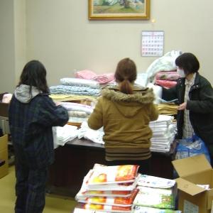 東関東大震災被災地への救援物資送付作業【山梨の日帰り温泉−つむぎの湯】